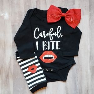 Careful I Bite Infant Halloween Outfit 6/12 mo